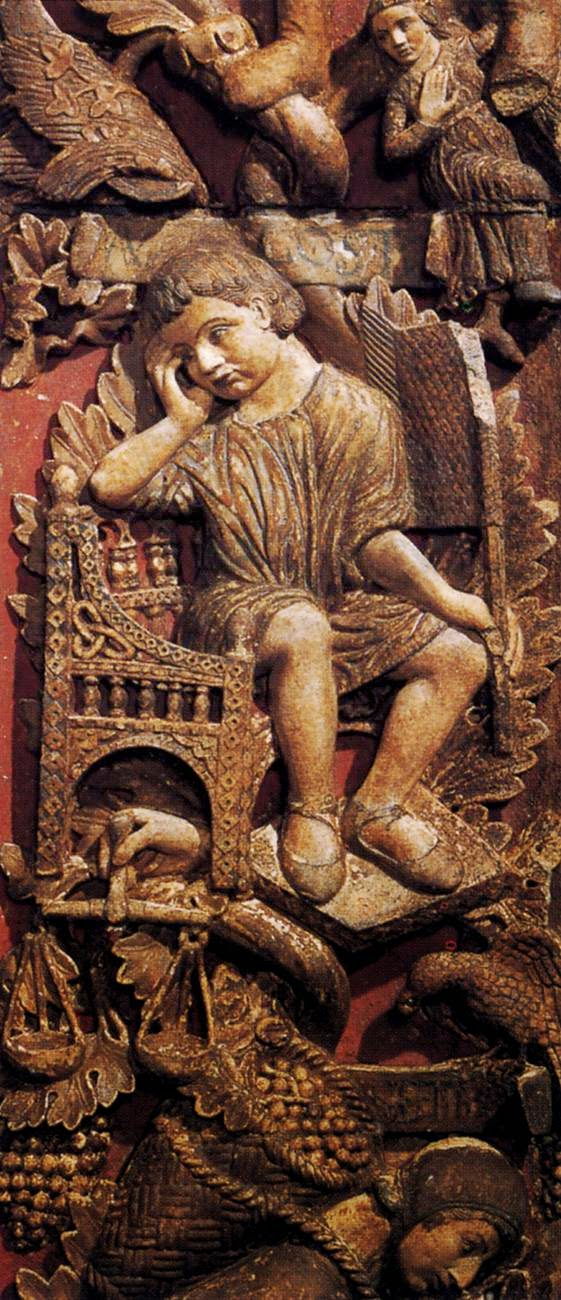 13th century bas-relief of the month of August, Central door, Basilica San Marco, Venice