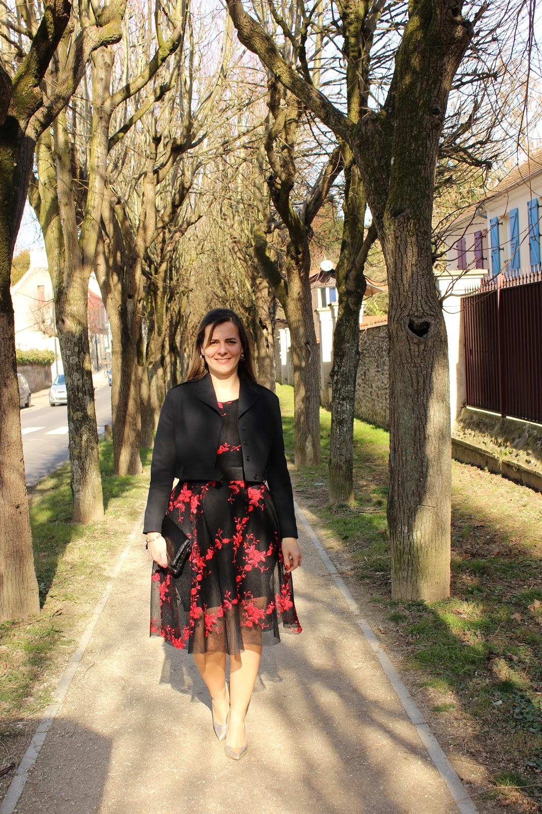 robe maje à fleurs, escarpins minelli, look du jour, les petites bulles de ma vie