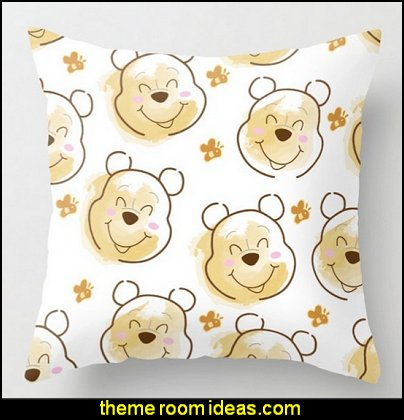 Pooh Bear surrounded with bees Pattern on White background Throw Pillow