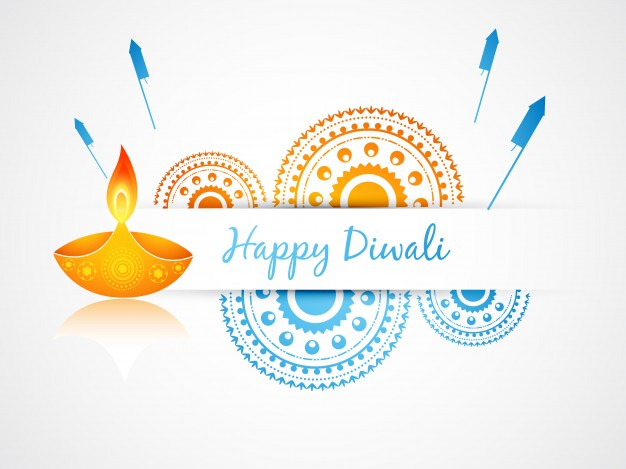 Festive candle design for diwali Free Vector