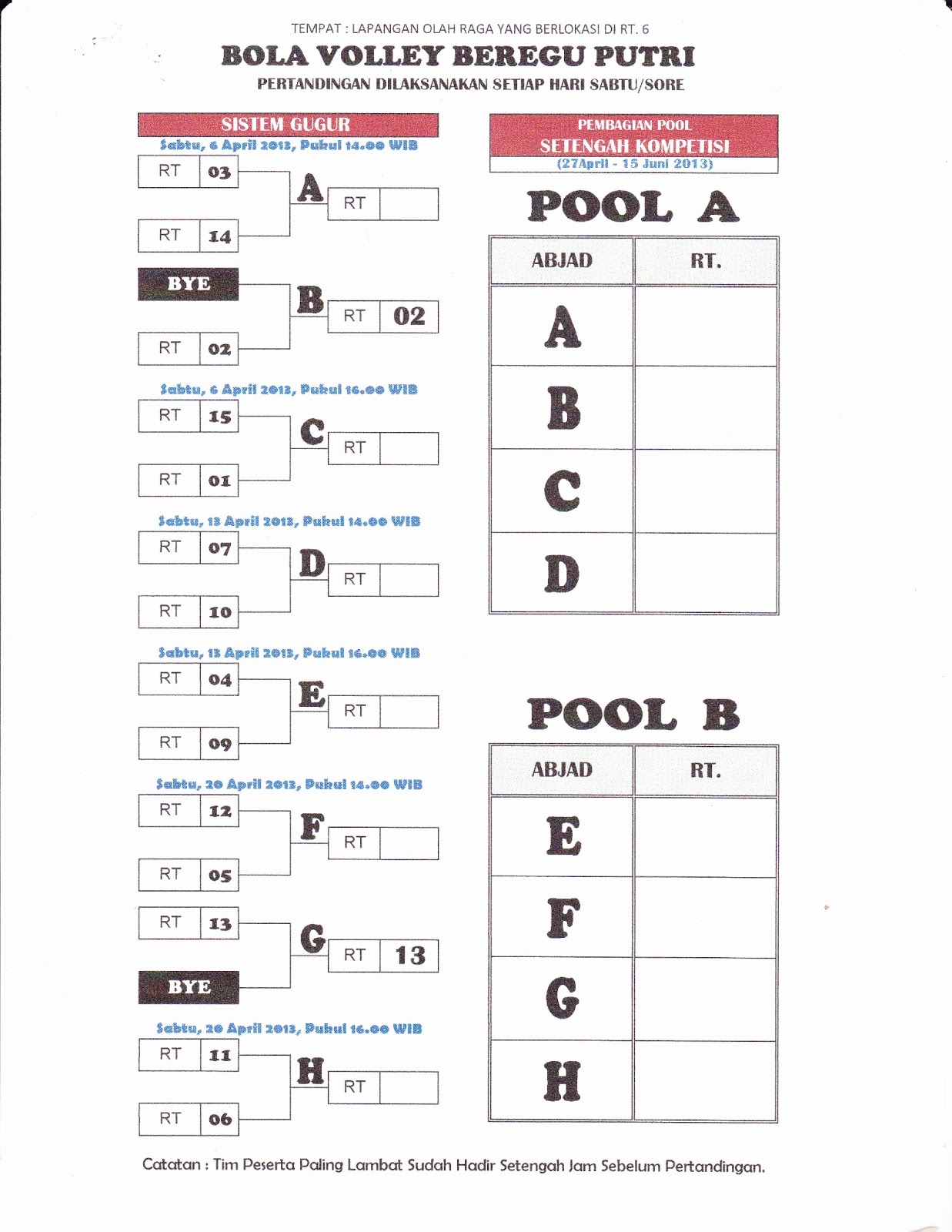 Jadwal Pertandingan Bola Volley Beregu Putri - Buletin RW 17