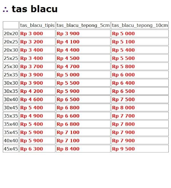 Daftar Harga Tas Blacu
