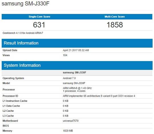 Samsung Galaxy J3 (2017) Geekbench Info
