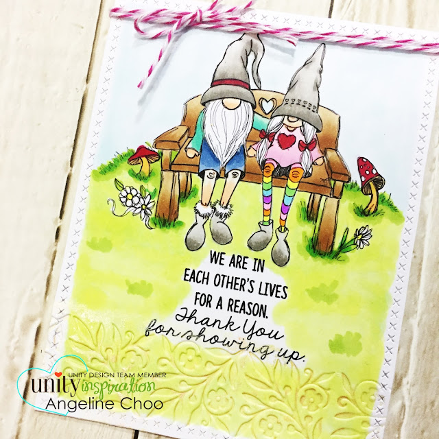 ScrappyScrappy: New Year Blog Hop with Unity Stamp - Showing up Gnome #scrappyscrappy #unitystampco #tierrajackson #card #cardmaking #trendytwine #copicmarkers #tonicstudios #nuvomousse #twine #dariceemboss #katscrappiness #diecut #gnome #papercraft #stamp #stamping