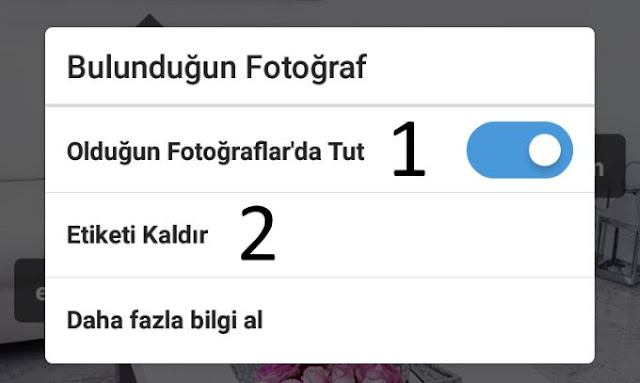 instagram etiketlendiğim fotodaki etiketi kaldırma