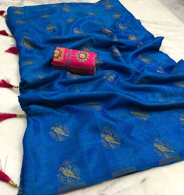 Malaysian Embose Sari With Heavy Blouse