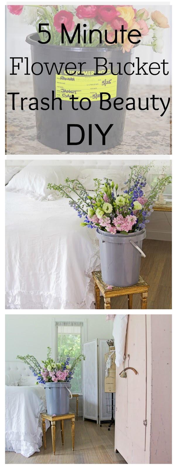 five minute flower bucket project diy