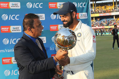 Sunil Gavaskar on Behalf of ICC Presents Mace To Kohli