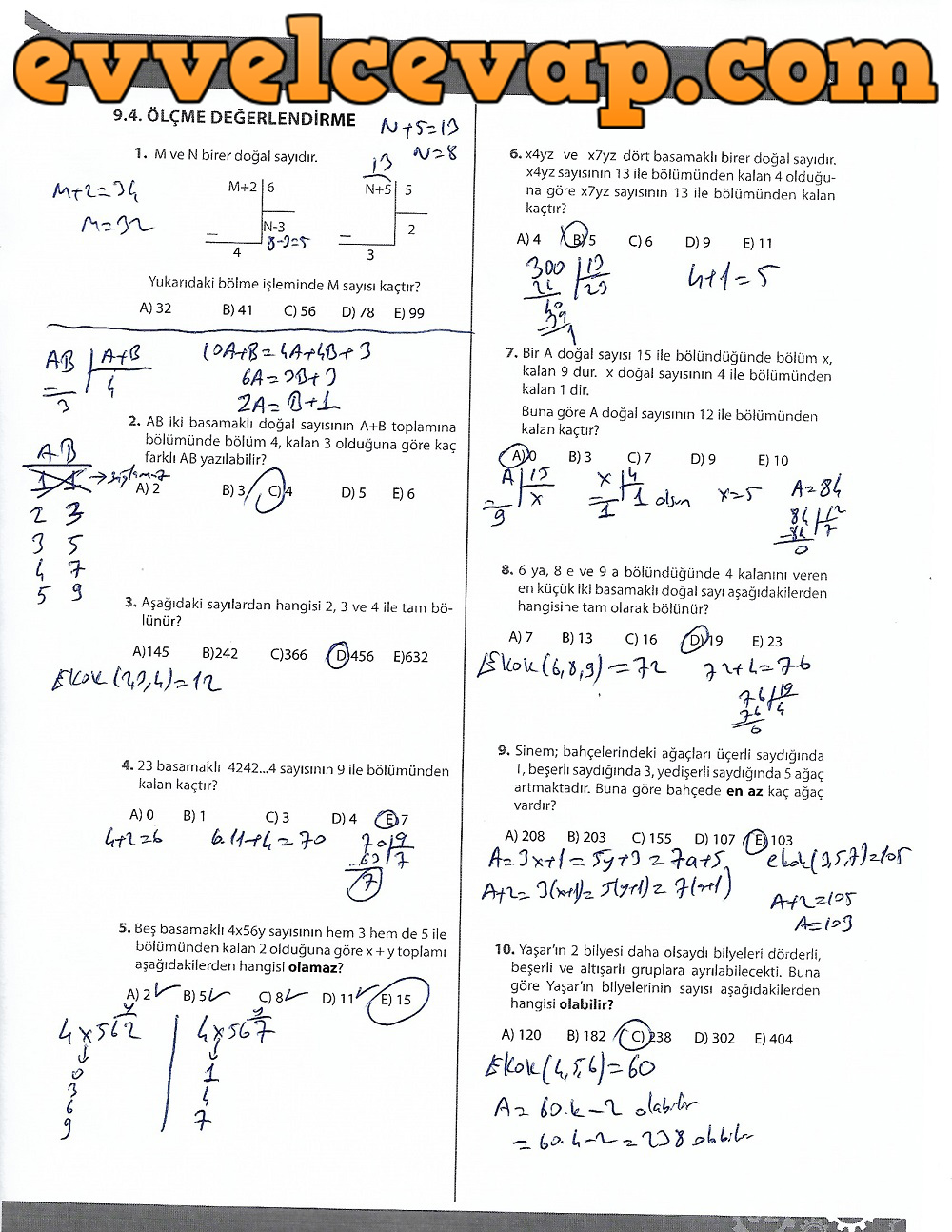 9.Sınıf Matematik MEB Yayınları Ders Kitabı 195.Sayfa Cevapları 4.Ünite