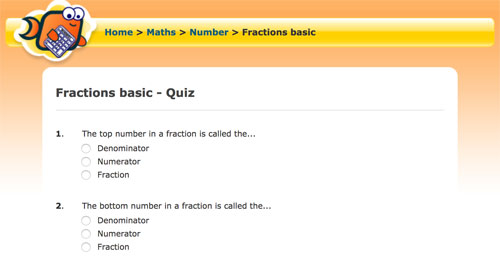 Fractions basic Quiz