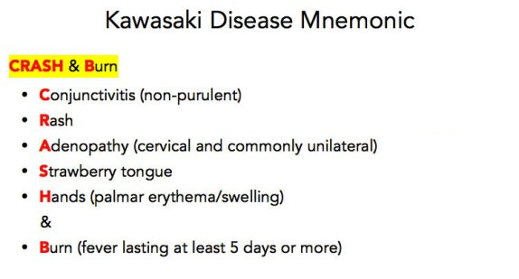 Kawasaki Disease Mnemonic - Crash and Burn
