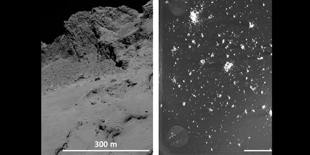 The surface of Rosetta's comet. As the comet approaches the Sun, frozen gases evaporate from below the surface, dragging tiny particles of dust along with them. Right: These dust grains can be captured and examined using the COSIMA instrument. Targets such as this one measuring only a few centimeters act as dust collectors. They retain dust particles of up to 100 microns in size. Credit: ESA/Rosetta/MPS for OSIRIS Team MPS/UPD/LAM/IAA/SSO/INTA/UPM/DASP/IDA (left), ESA / Rosetta / MPS for COSIMA Team MPS / CSNSM / UNIBW / TUORLA / IWF / IAS / ESA / BUW / MPE / LPC2E / LCM / IMF / UTU / LISA / UOFC / vH & S. (right)