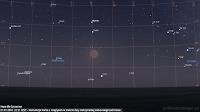 Koniunkcja Marsa we wielkiej opozycji z Księżycem w trakcie fazy maksymalnej całkowitego zaćmienia 27.07.2018 r. o godz. 22:21 CEST - Mapa dla Szczecina