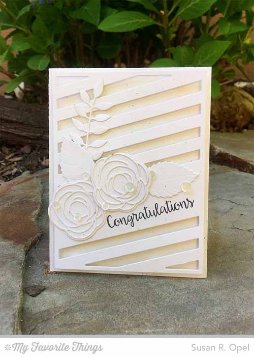 Floral Congratulations Card by Susan R. Opel featuring Bling it On stamp set, Diagonal Sentiment Strip Cover-Up. Bold Greenery, Layered Leaves, Lisa Johnson Designs Scribble Roses, and Scribble Roses Overly Die-namics #mftstamps