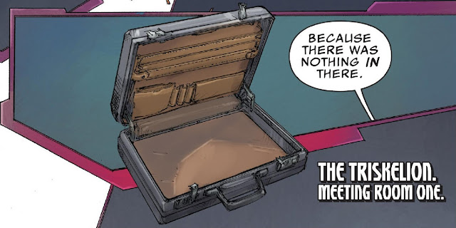 "A picture of an empty briefcase with ""Because there was nothing IN there."" in a speech bubble"