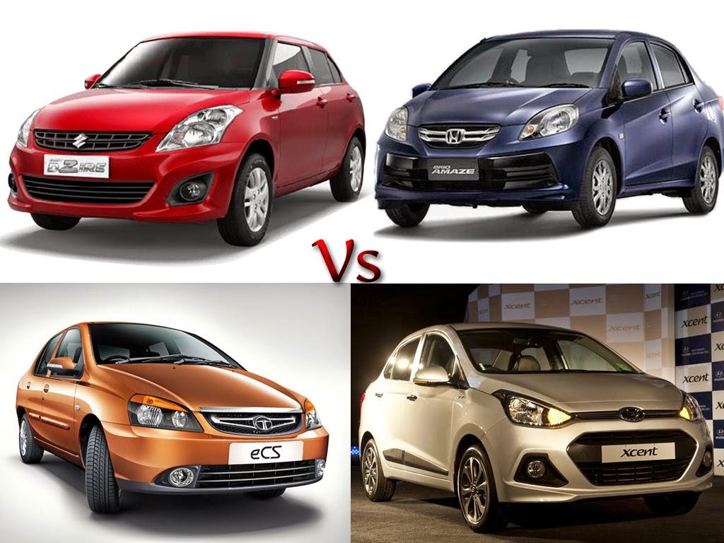 Compare Sub 4 Metre Sedan Car - Maruti Swift Dzire Vs Honda Amaze Vs Hyundai  Xcent Vs Tata Indigo CS
