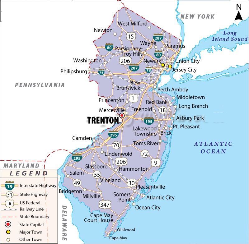 Map Of New Jersey State Map Of USA - Us map nj
