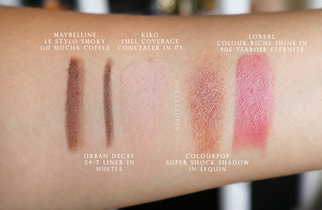 Kiko Full Coverage Concealer in 03 and Maybelline Le Stylo Smoky 110 Mocha Coffee Swatch