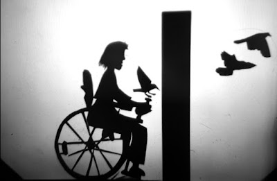 shadow puppet in wheelchair facing a wall. Bird on her chair control and on 2 flying on the other side of the wall