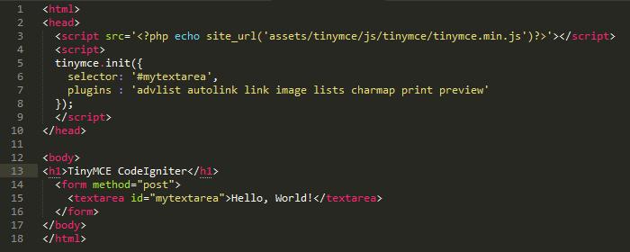 Coding View TinyMCE Pada CodeIgniter