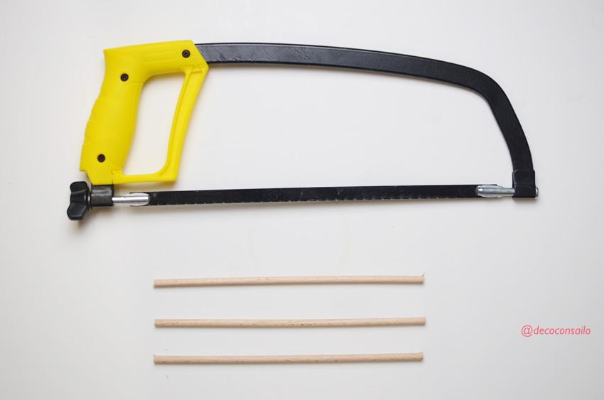 paso 4 diy colgador bisutería: cortar las varillas