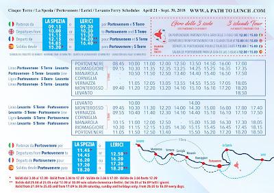2018  Cinque Terre Ferry Schedule with La Spezia, Portovenere, Lerici, Levanto