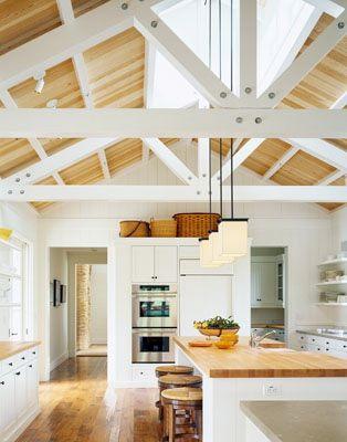 open floor plan vaulted ceiling kitchen living room ...