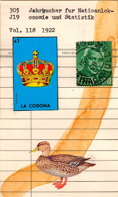Alfred North Whitehead mexican loteria la corona royal crown duck Sri Lanka Ceylon postage stamp library due date card Dada Fluxus mail art collage