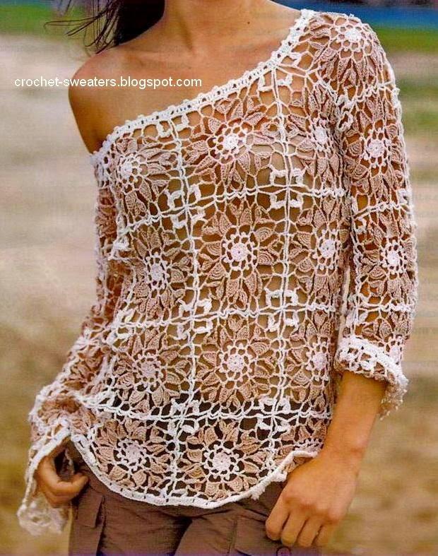 Blusa al crochet con diseño de squares / cuadros