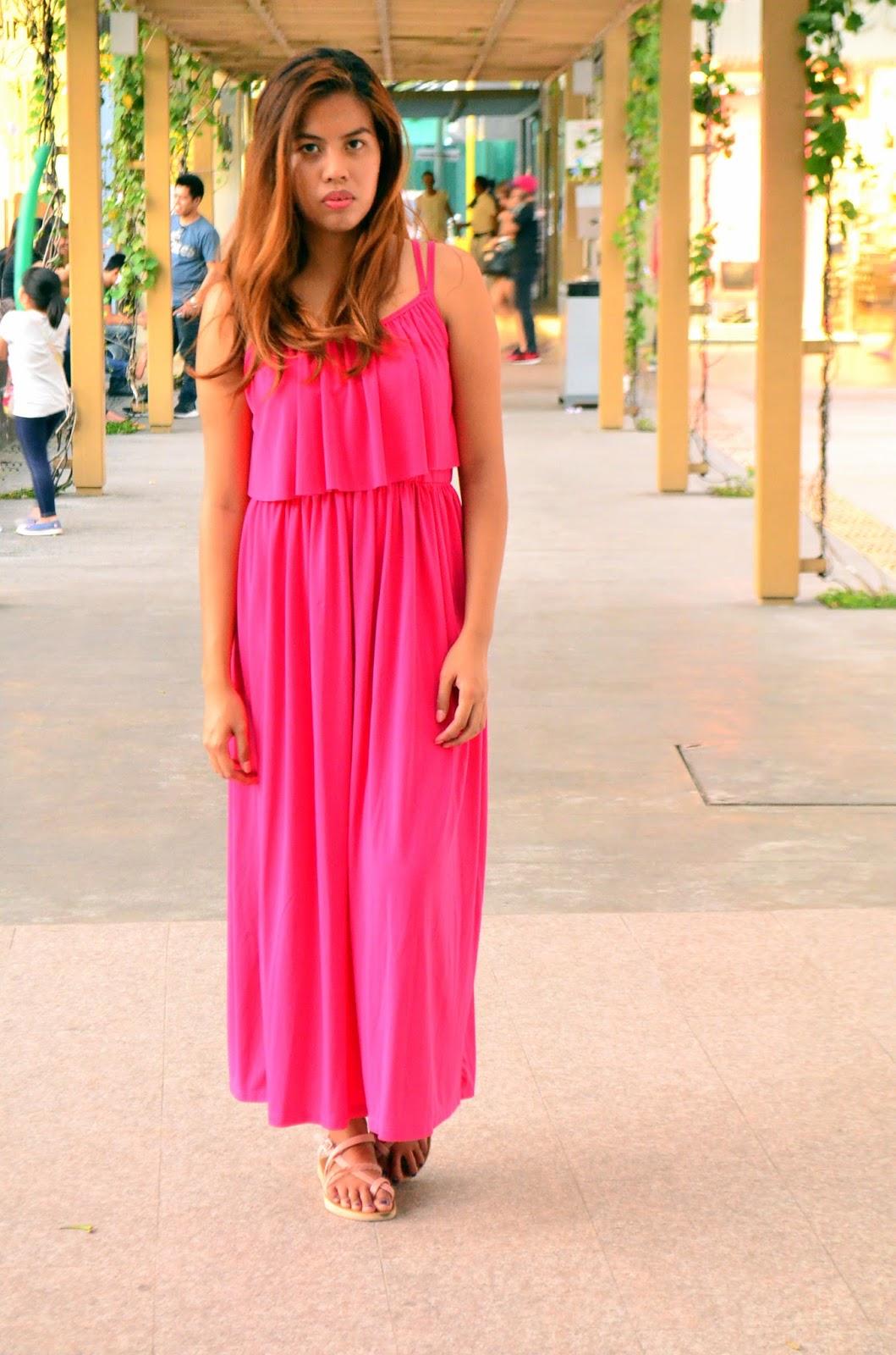 bright pink maxi dress