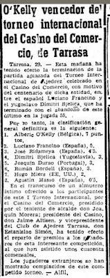 Recorte de prensa con la clasificación del I Torneo Internacional de Terrassa 1960