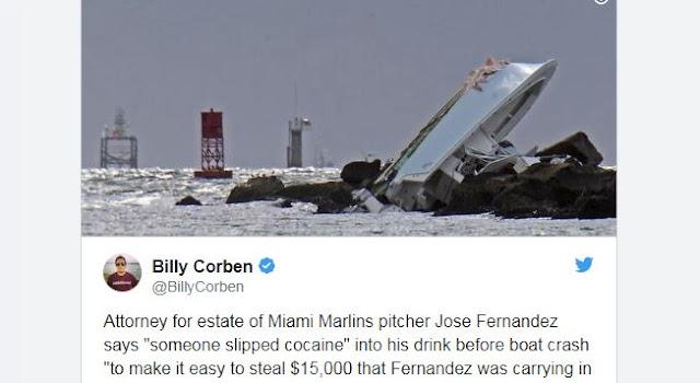De acuerdo a un documento de 167 páginas, el fallecido lanzador cubano de los Marlins fue drogado por alguien más, con la intención de robarle 15 mil dólares en efectivo que el cubano traía consigo la noche del accidente.