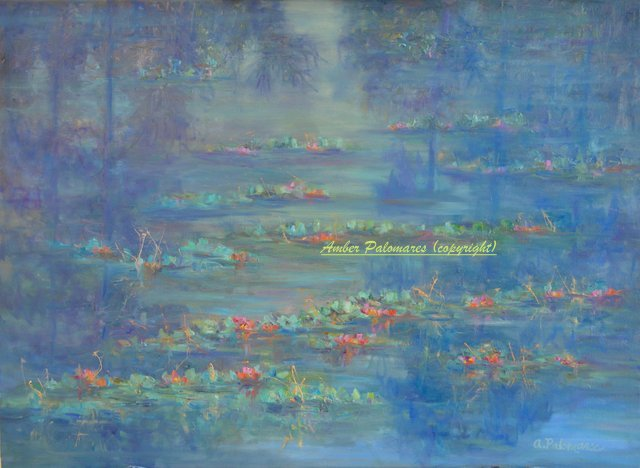Oil Painting of a Marsh with Water Lilies