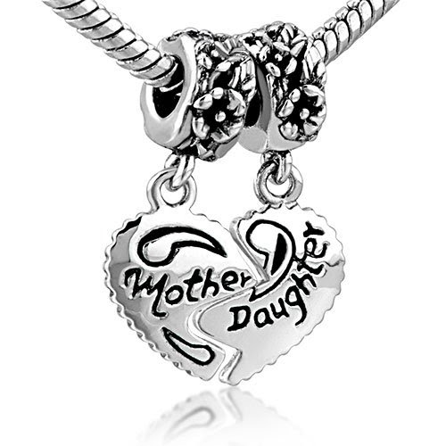 Pandora Bracelet Heart Mother And Daughter Beads Charm