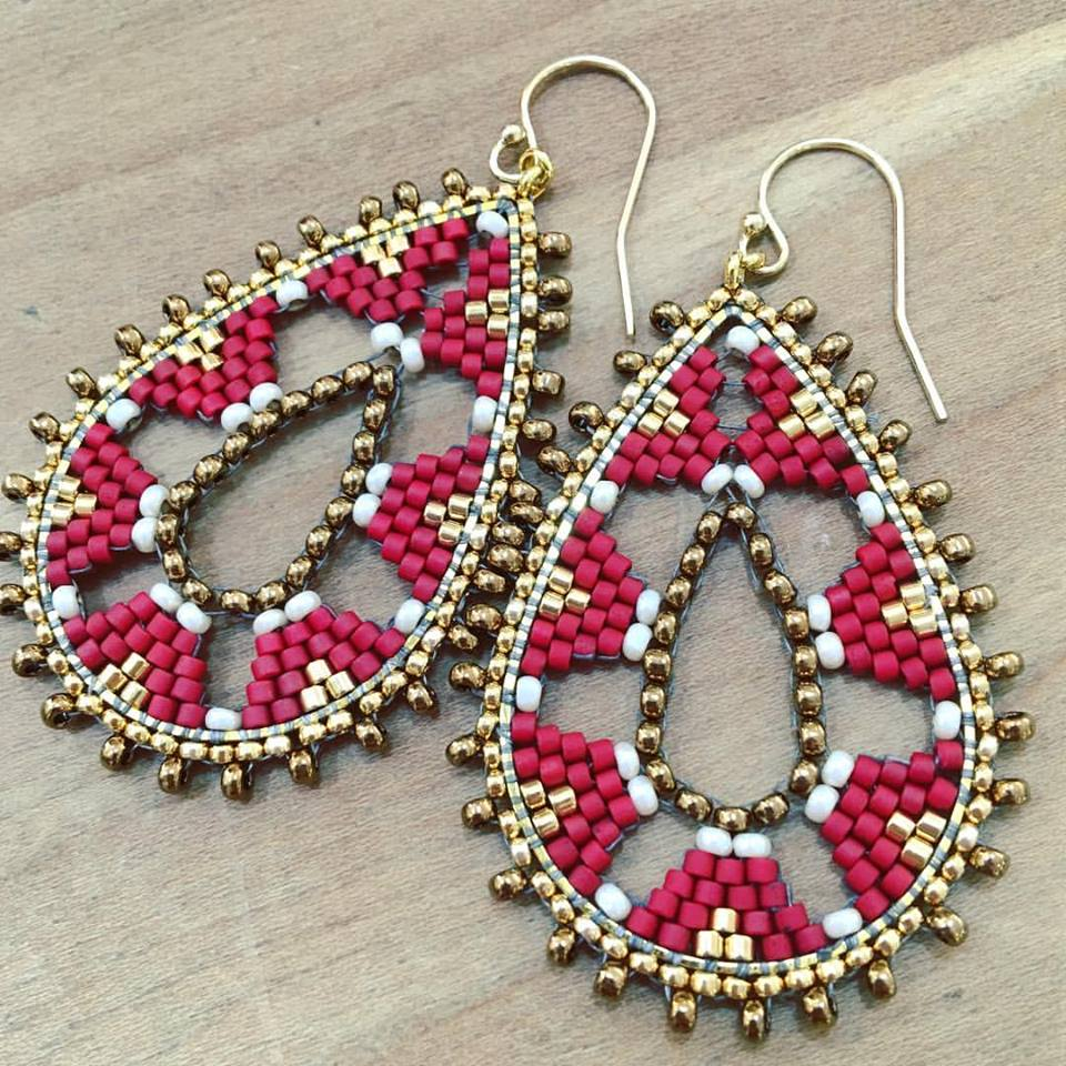 american earrings jewellery aztec geometric tribal indian dangling beaded style large native itm