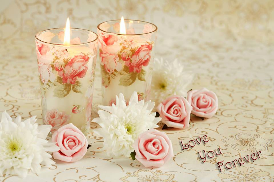 i love you with rose and diyas