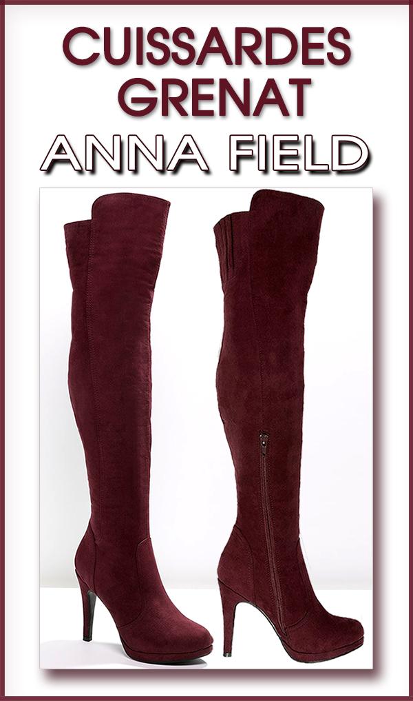 Bottes cuissardes à talons hautes grenat ANNA FIELD