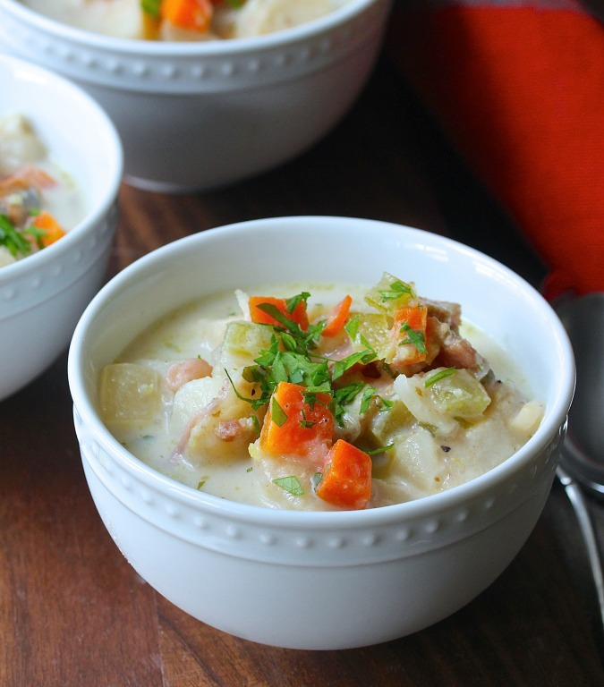 Potato and Carrot Chowder with Scallops
