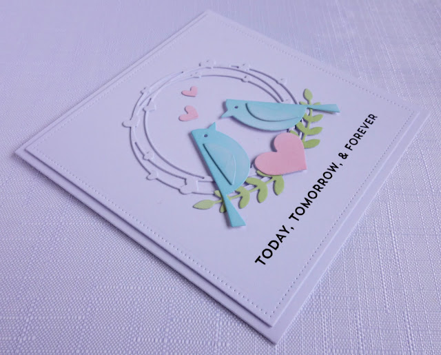 Romantic card using MFT Birds of a Feather