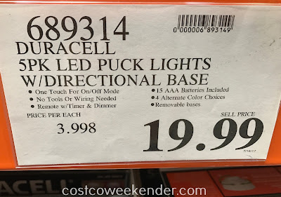 Deal for a 5 pack of Duracell LED Puck Lights with Directional Base at Costco