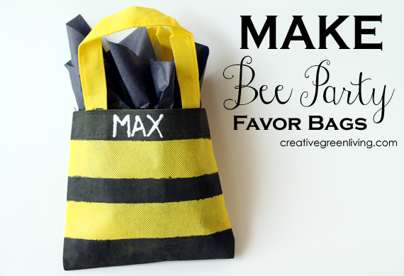 how to make striped bee party favor bags