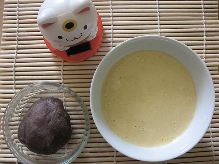 Pâte dorayaki et anko avant cuisson