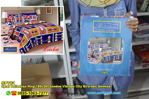 Sprei Belladona King 180x200 London Vintage City Biru Abu Dewasa