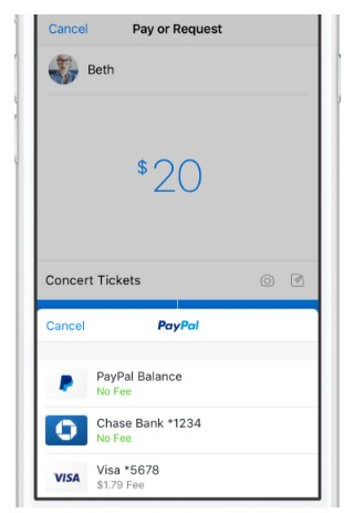Send money with Facebook Messenger via Paypal