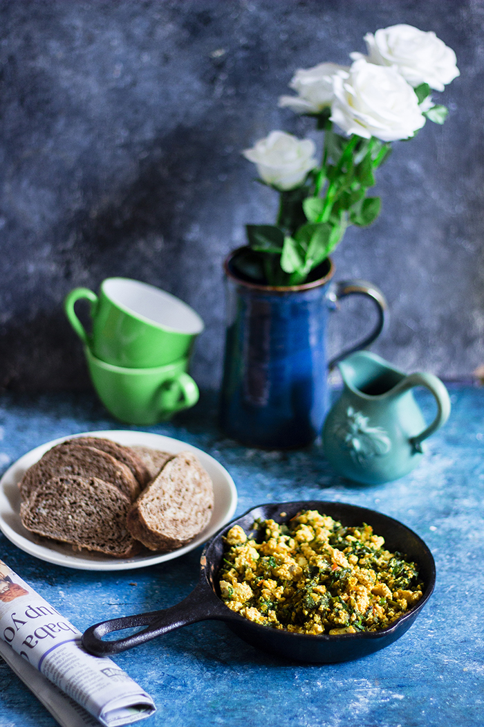 spiced scrambled tofu with wilted spinach