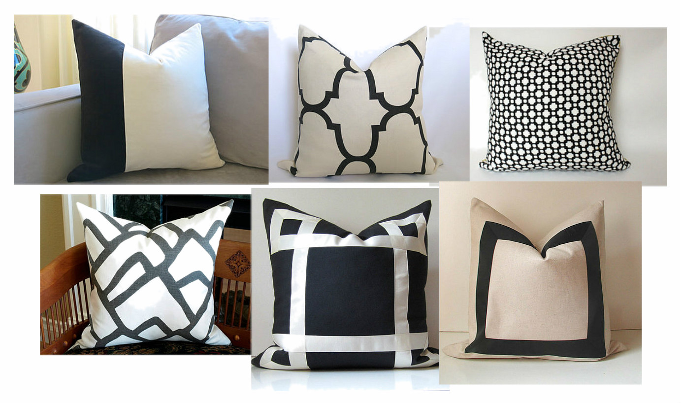 black and white pillows design indulgence. Black Bedroom Furniture Sets. Home Design Ideas