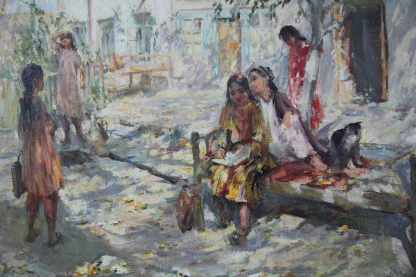 Ouzbékistan, Tachkent, Musée National des Beaux Arts, Jeunes écolières, Kovalevskaya, tapchane, tapshan, © L. Gigout, 2012