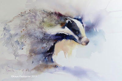 Badger Art painting watercolour
