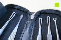 Instrumente Enden: Mittesserentferner Set, 5 Tools, entfernen Mitesser und Hautunreinheiten, aus Edelstahl, Professionell, Behandlung gegen Mitesser, Akne und Pickel