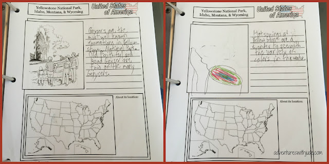 Yellowstone National Park Notebooking Pages